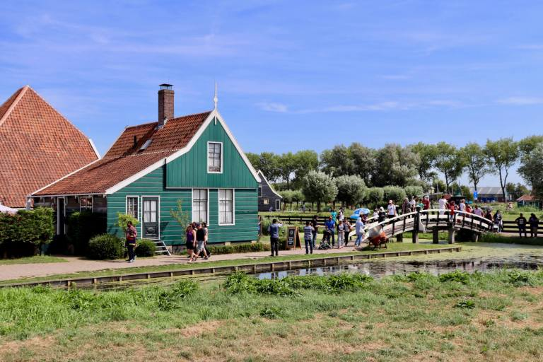 Green building with red roof at Zaanse Schans