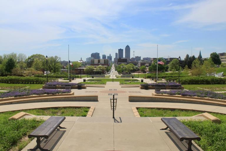 View of downtown Des Moines from the Iowa Capitol Building