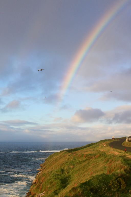 Rainbow over sea cliffs on the Mullaghmore Peninsula