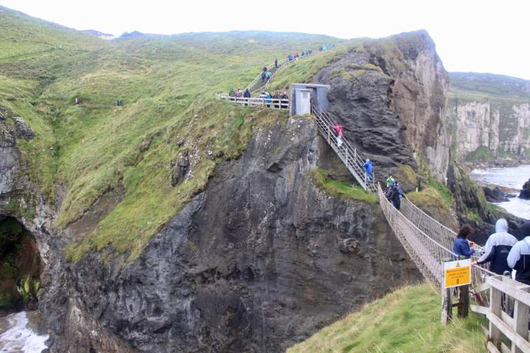 Carrick-a-Rede rope bridge spanning between cliffs