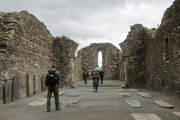 M exploring the cathedral ruins