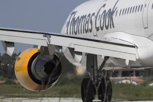 Side view of Thomas Cook airplane