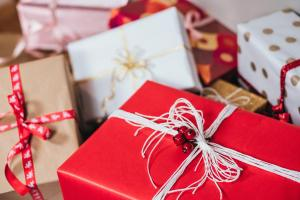 Festively-wrapped Christmas presents with bows