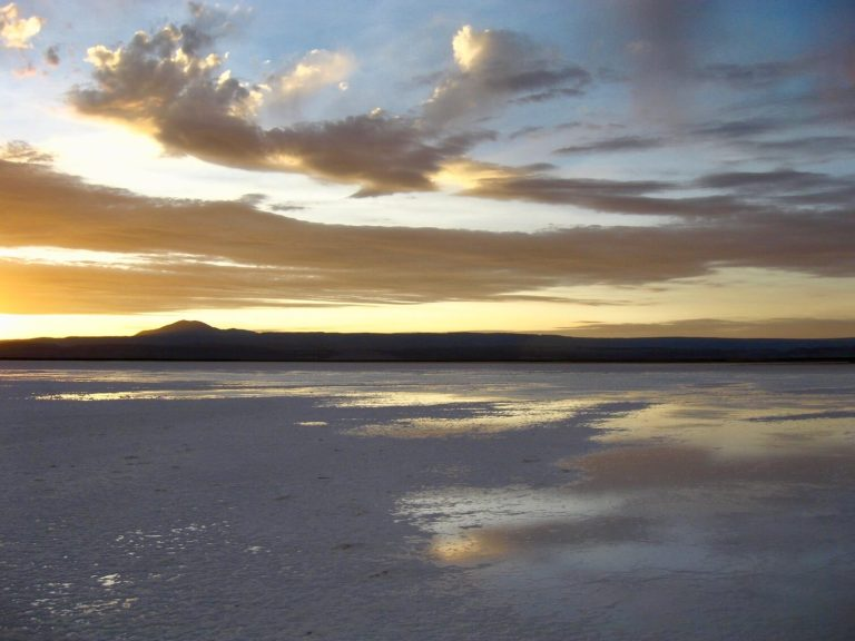 Sunset on the Salar de Atacama, with light reflecting off water