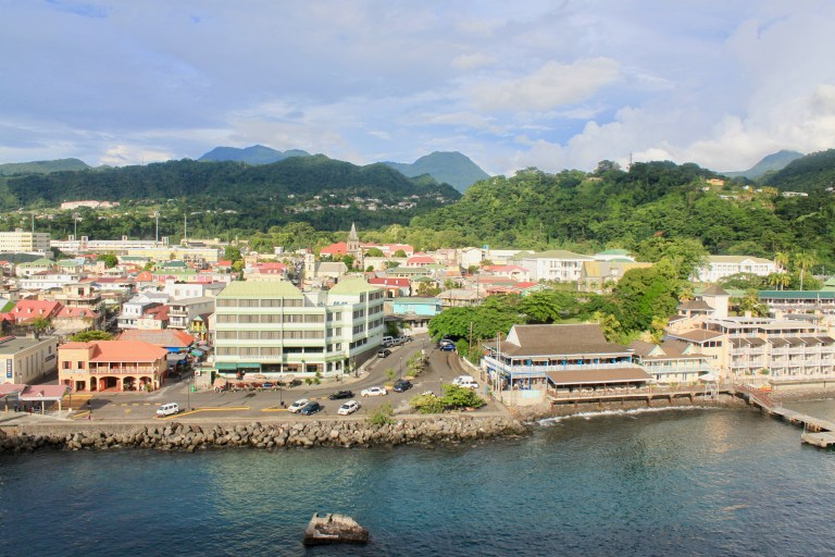 Roseau, Dominica with jungle-clad mountains beyond