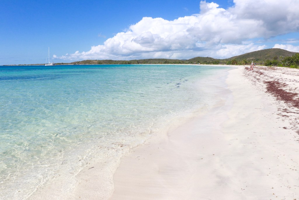 Calm, clear water and white sand on Playa La Chiva beach in Vieques