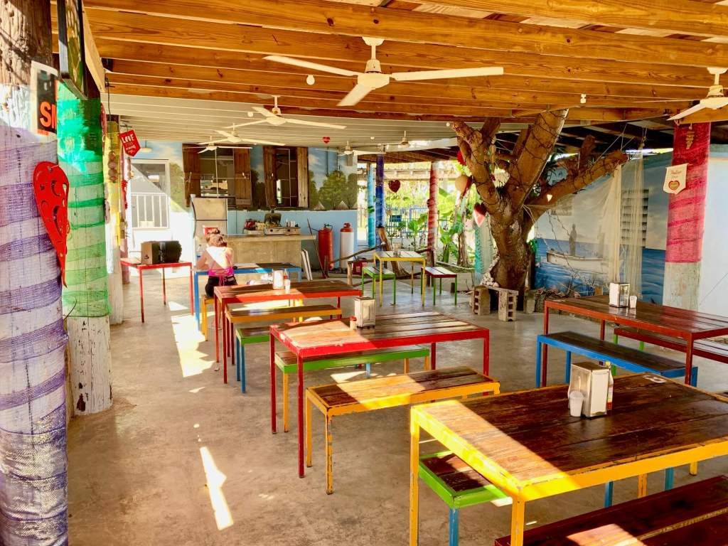 Open-air dining area of Rancho Choli on Vieques