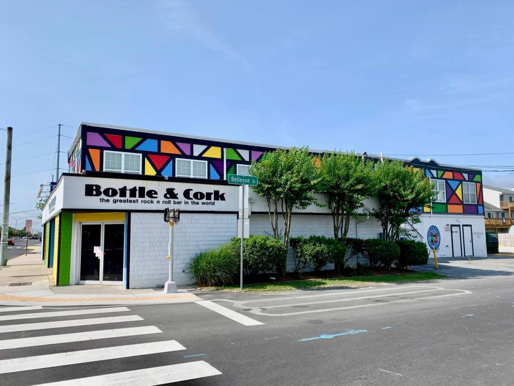 Colorful exterior of the Bottle & Cork