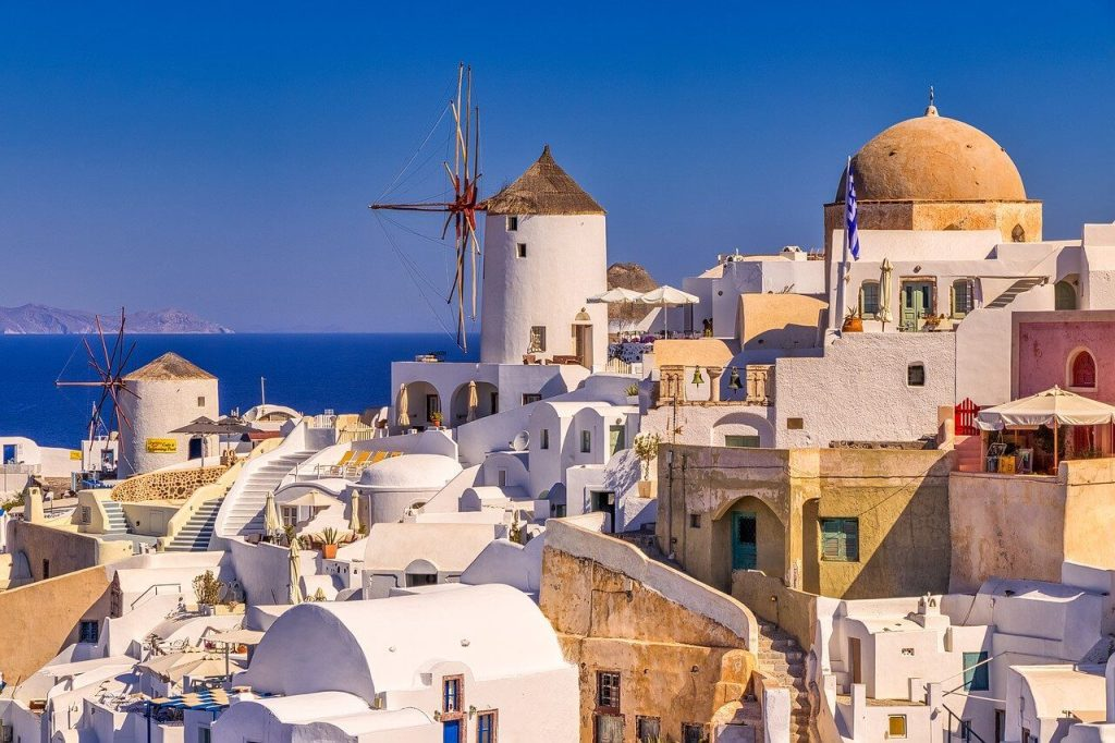 White buildings and windmills of Santorini
