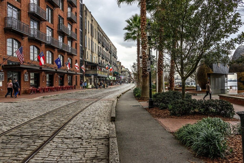 Cobblestone street in Savannah, GA. The American South can be a charming choice for a mother-daughter trip.