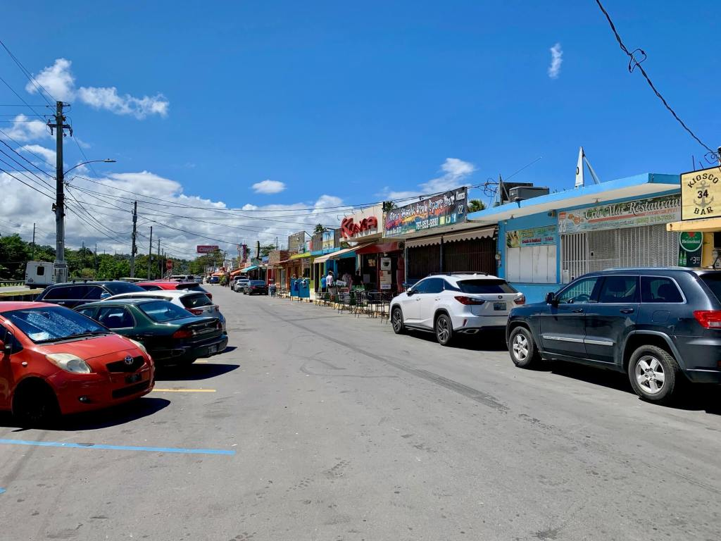 Row of food kiosks in Luquillo