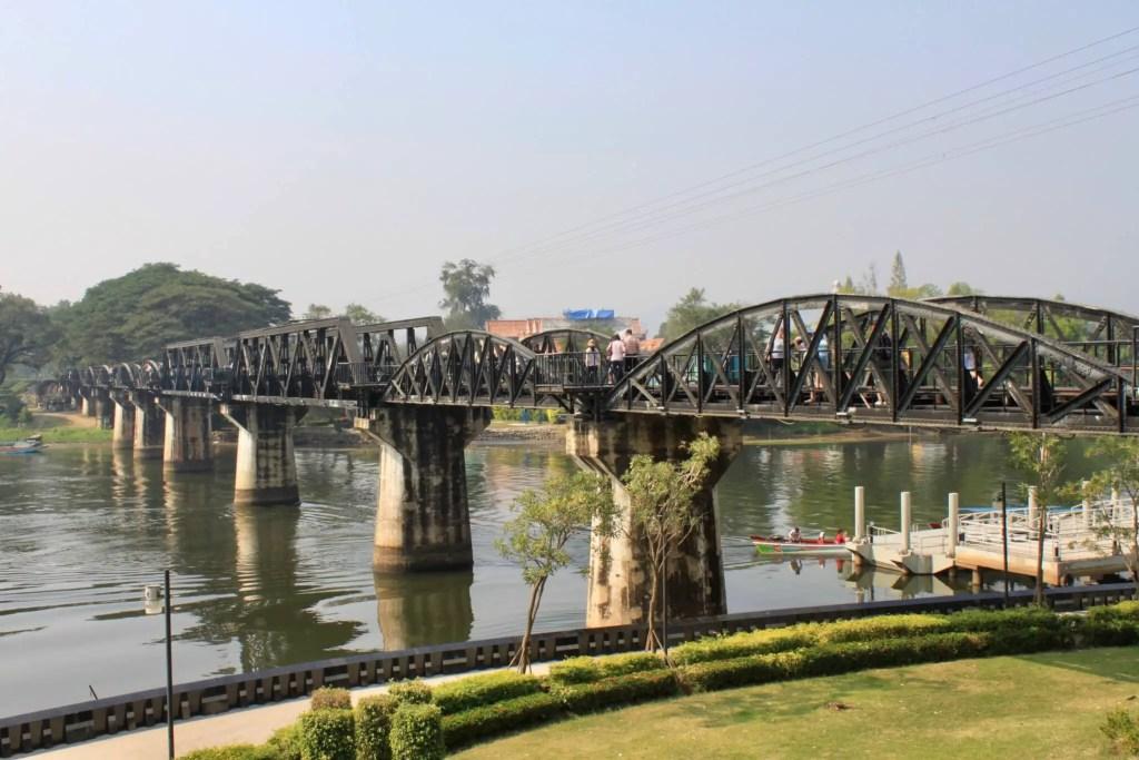 Black iron bridge crossing the River Kwai