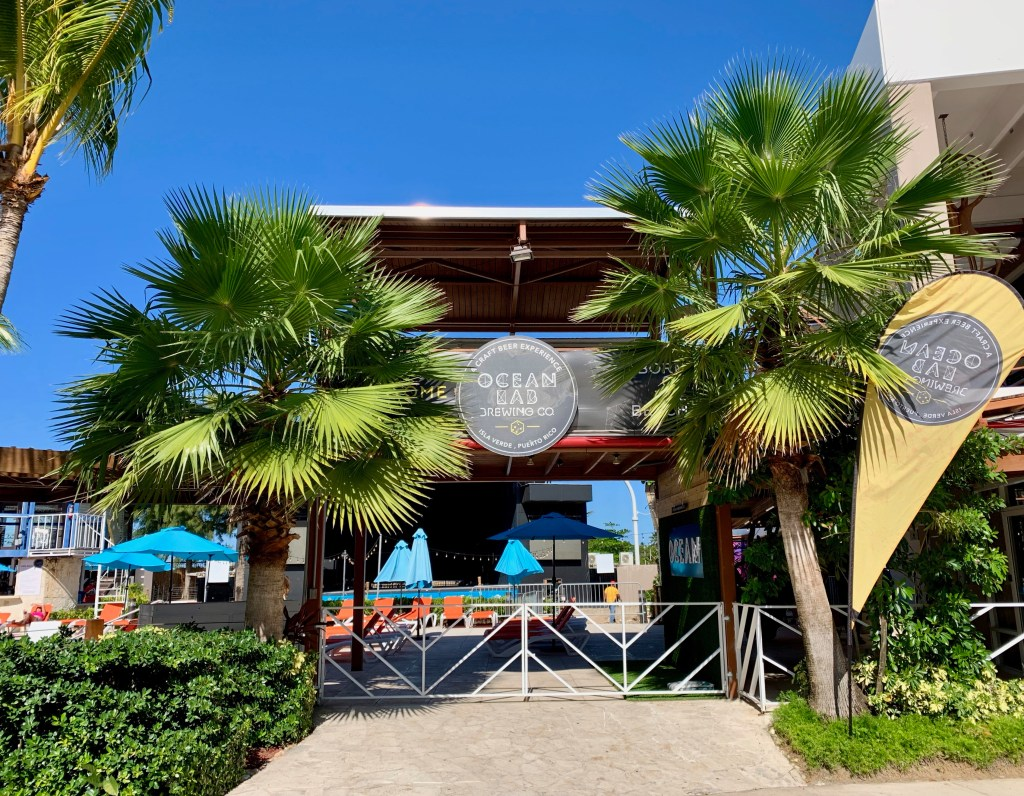 Entrance to Ocean Lab Brewing Company with palm trees