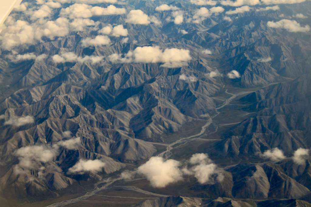 Aerial view of the rocky Brooks mountain range