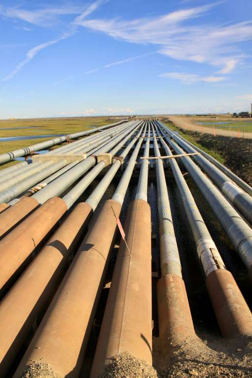 Pipelines stretching off into the distance