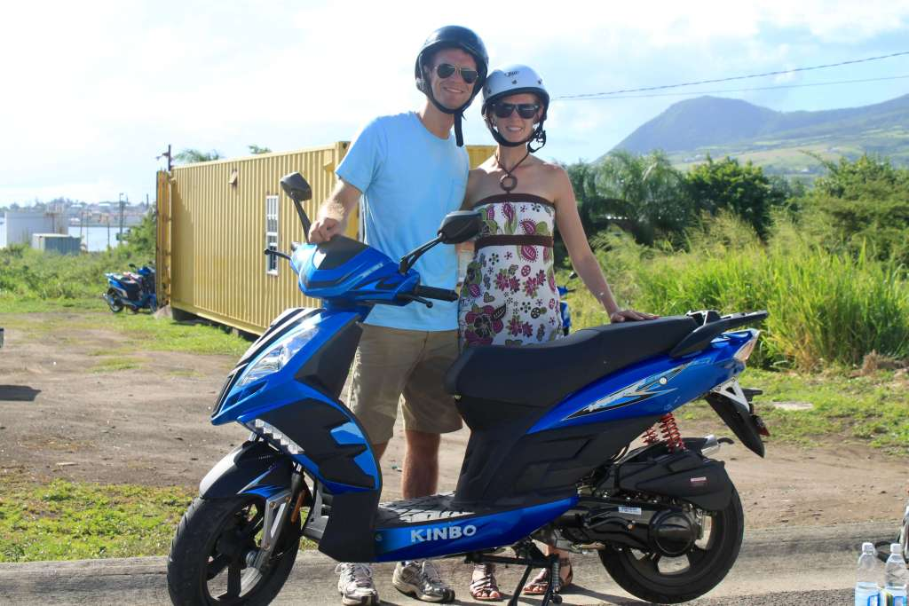 Gwen and M with their scooter