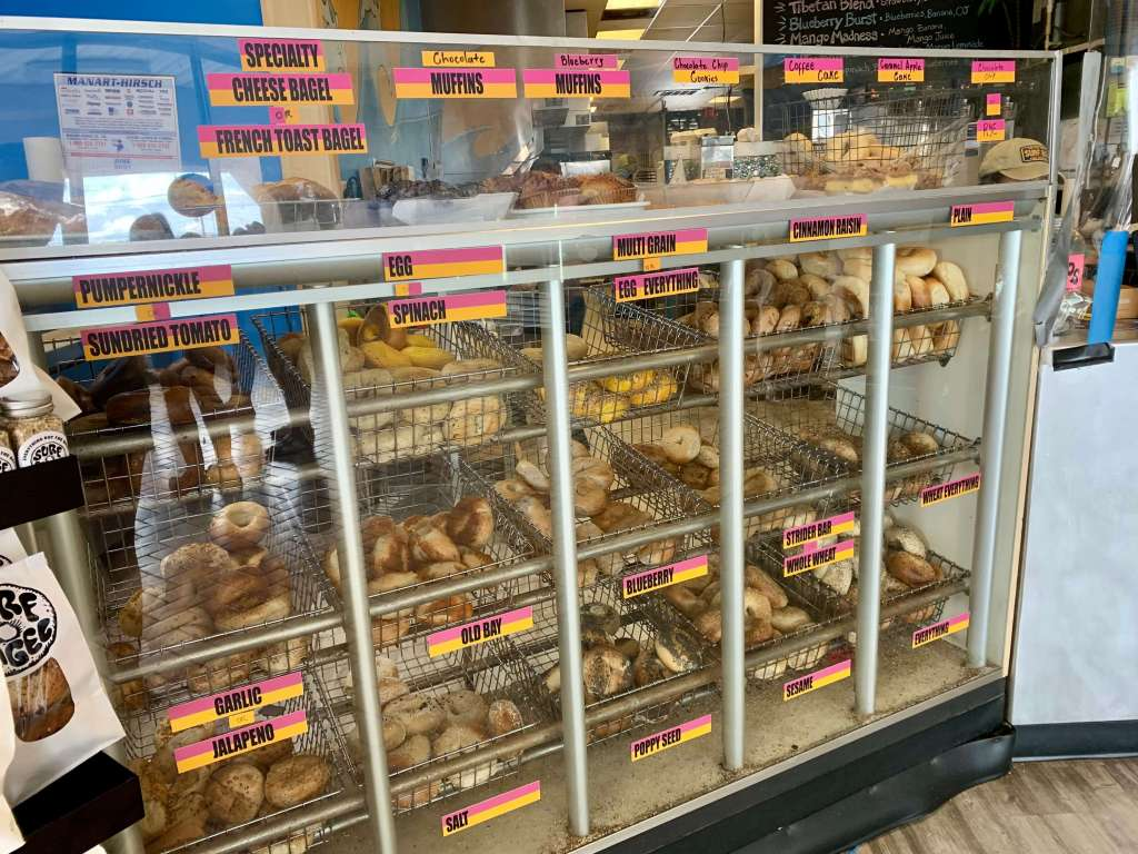 Bagel case at Surf Bagel, one of the best restaurants in Rehoboth Beach for quick eats.