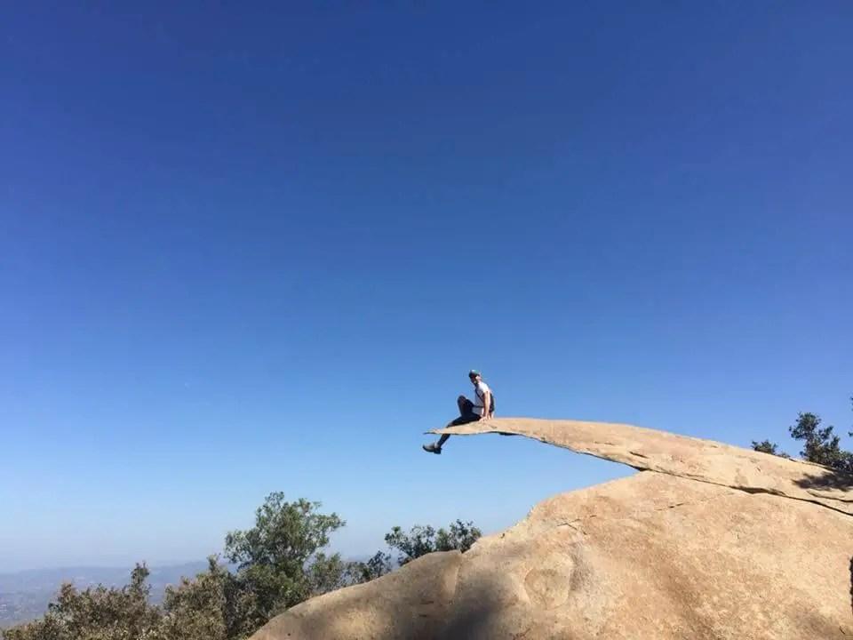 Chad perched atop Potato Chip Rock