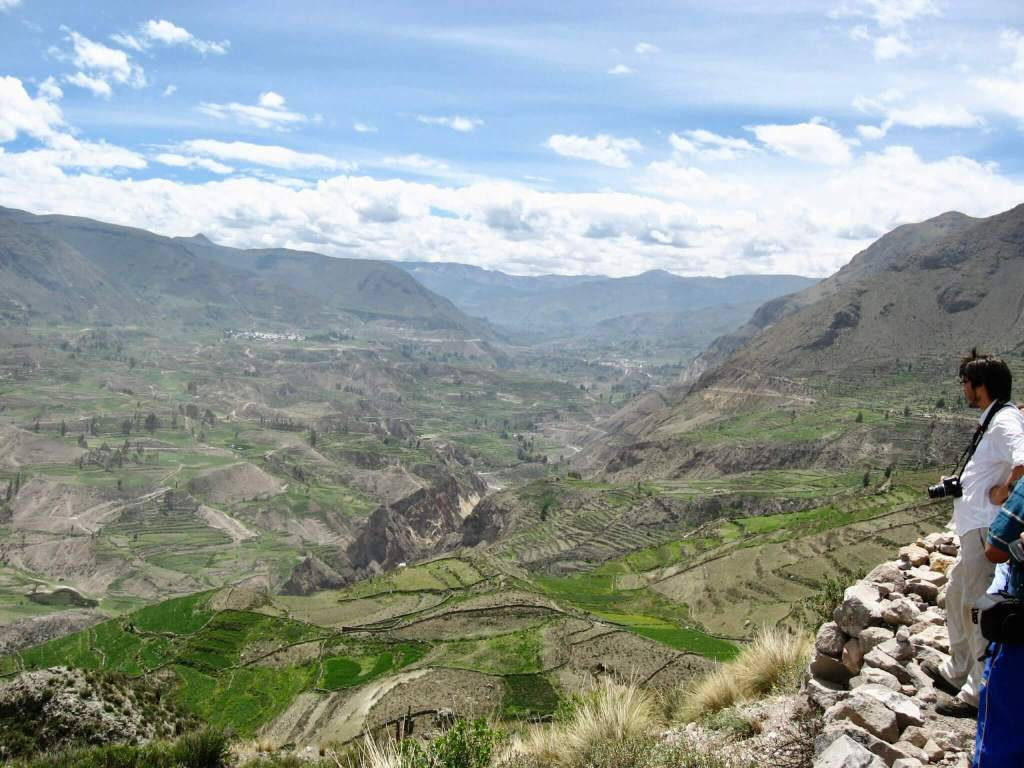 Farming terraces stretching out into a huge valley