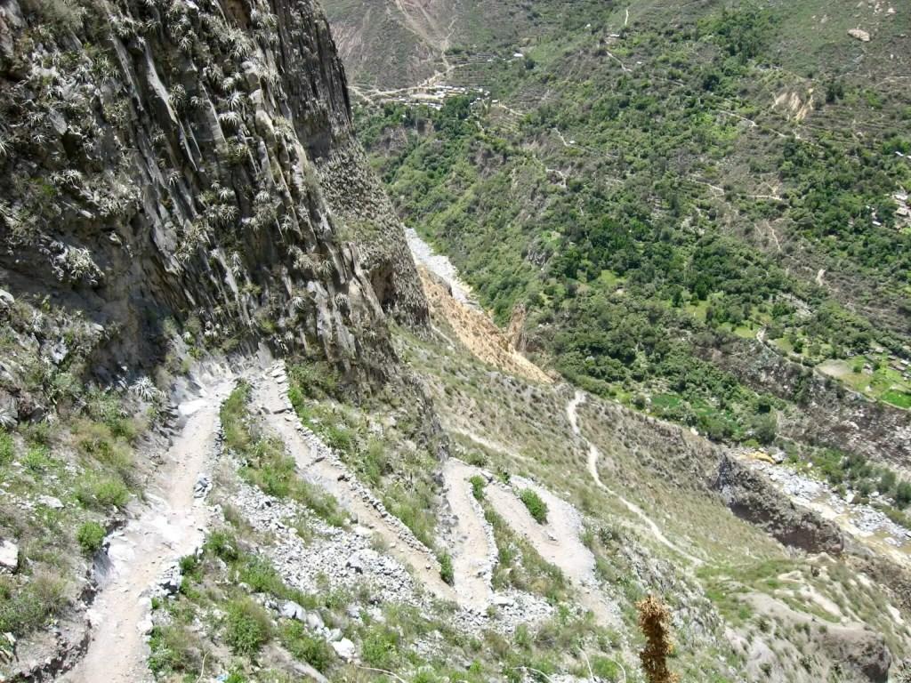 Switchbacks descending into Colca Canyon