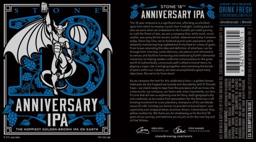 Stone Brewing Co. - 18th Anniversary IPA (label)