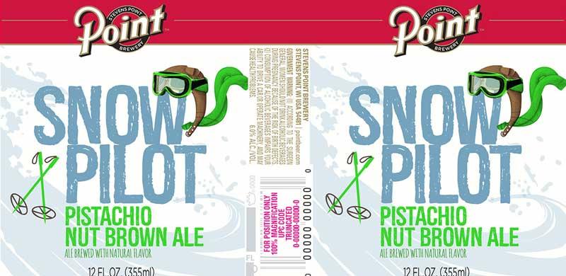 Stevens Point Snow Pilot Pistachio Nut Brown Ale Can Label