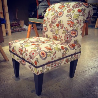 Slipper chair looking sharp with contrast welt