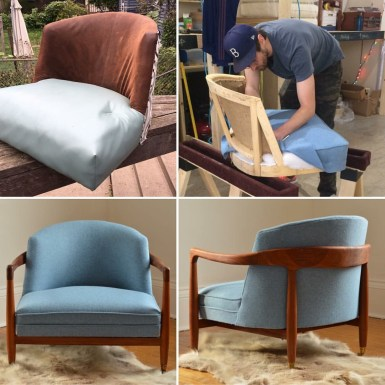 Not only reupholstered: refinished and repatterned.