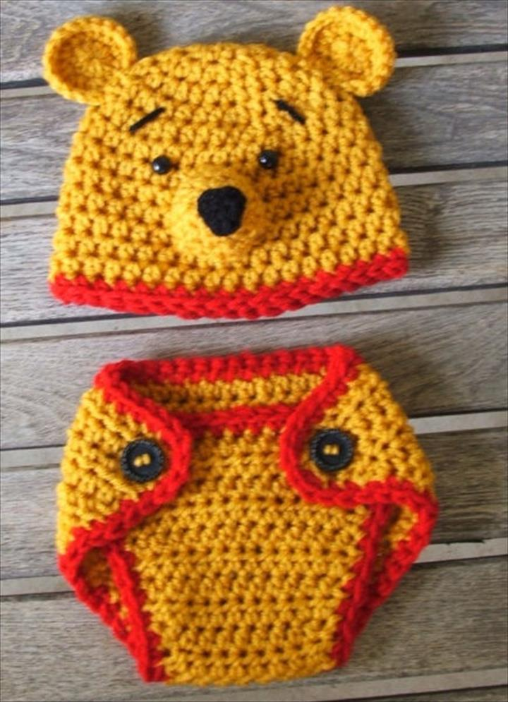 78e280240ec Crochet Baby Hat And Diaper Cover Pattern