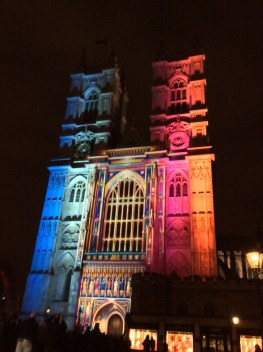 Here's Westminster Abbey lit up!