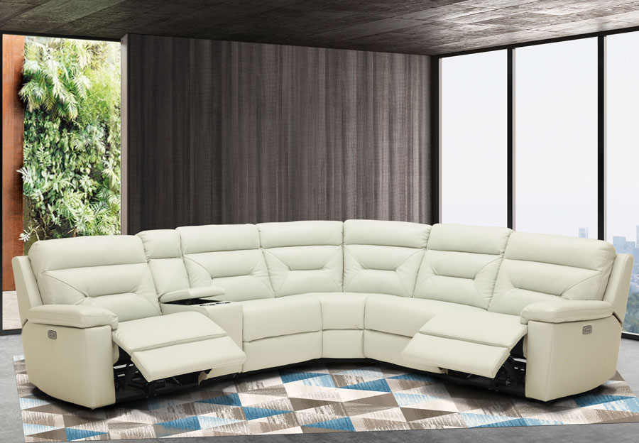 power reclining sectional leather match
