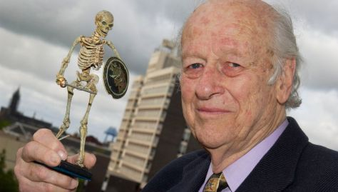 Ray Harryhausen lecture With skeleton & Middlesbrough tower