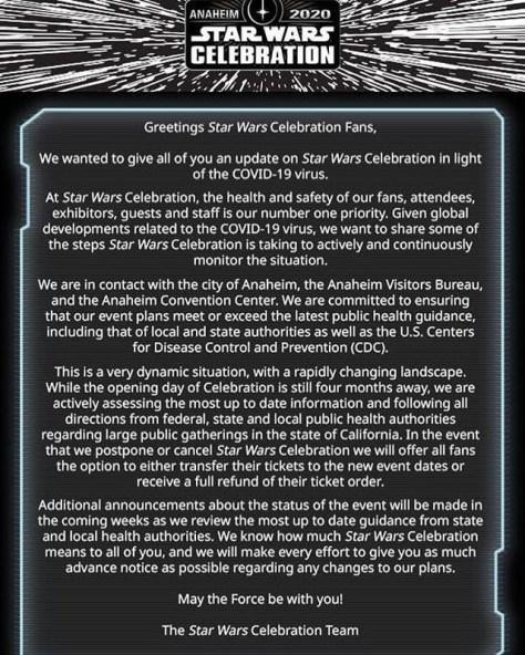 Star Wars Celebration - Possible Cancellation