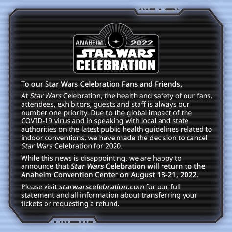 Star Wars Celebration 2020 canceled