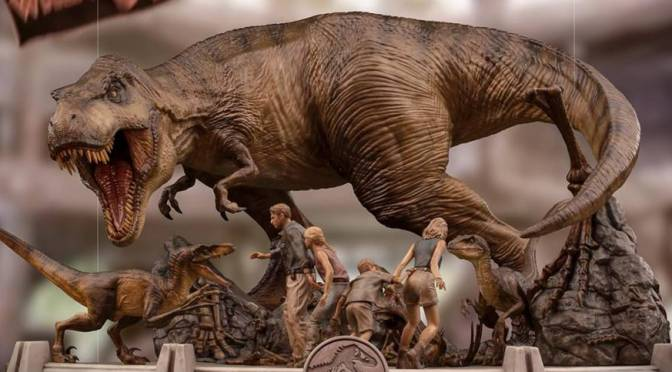 First Look | Jurassic Park: The Final Scene Statue From Iron Studios