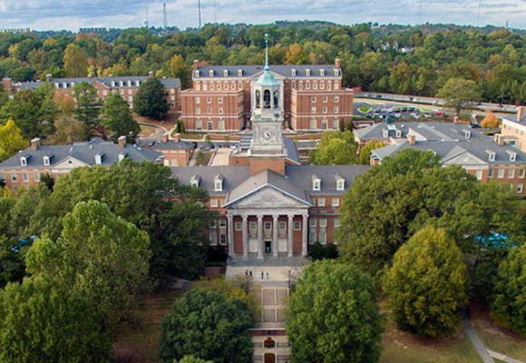 a bird's-eye view of a building on the campus Samford University, home of the Samford University dietetic internship