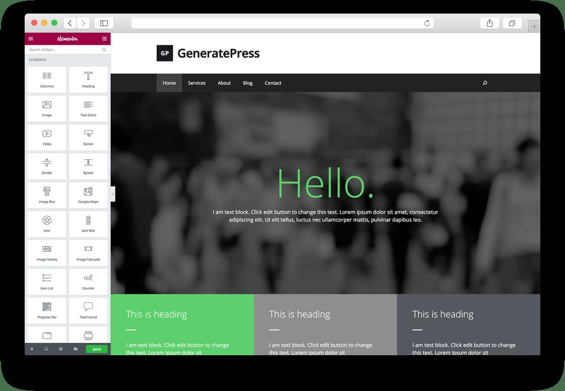 Плагин Elementor и тема GeneratePress для WordPress