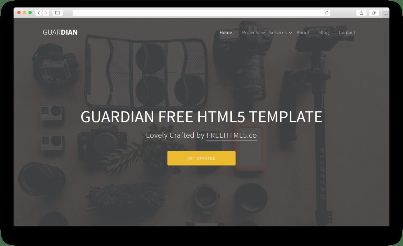 Guardian   Бесплатный шаблон сайта сделанный на Bootstrap