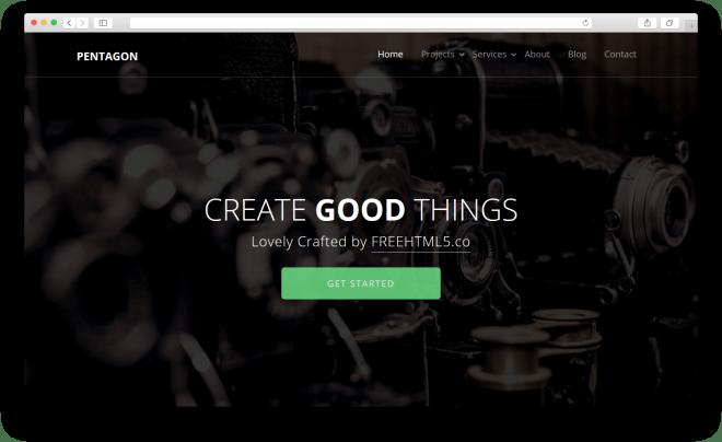 Pentagon | Бесплатный многоцелевой HTML5 шаблон построен с помощью Bootstrap
