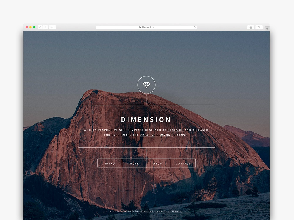 Dimension is a free One Page HTML template suited for a minimal personal site