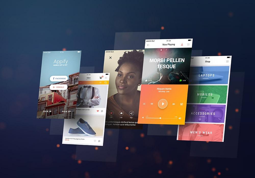 Бесплатный PSD мокап для презентации экранов мобильного приложения
