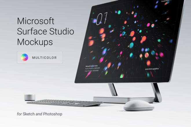 Мокапы Microsoft Surface Studio для Sketch 45+ и Photoshop CS4+