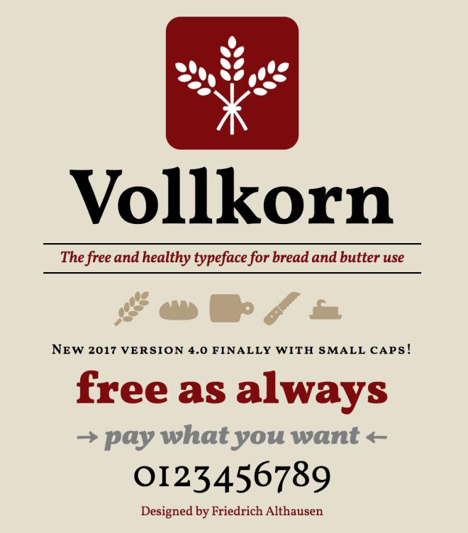 Vollkorn бесплатный шрифт от Friedrich Althausen