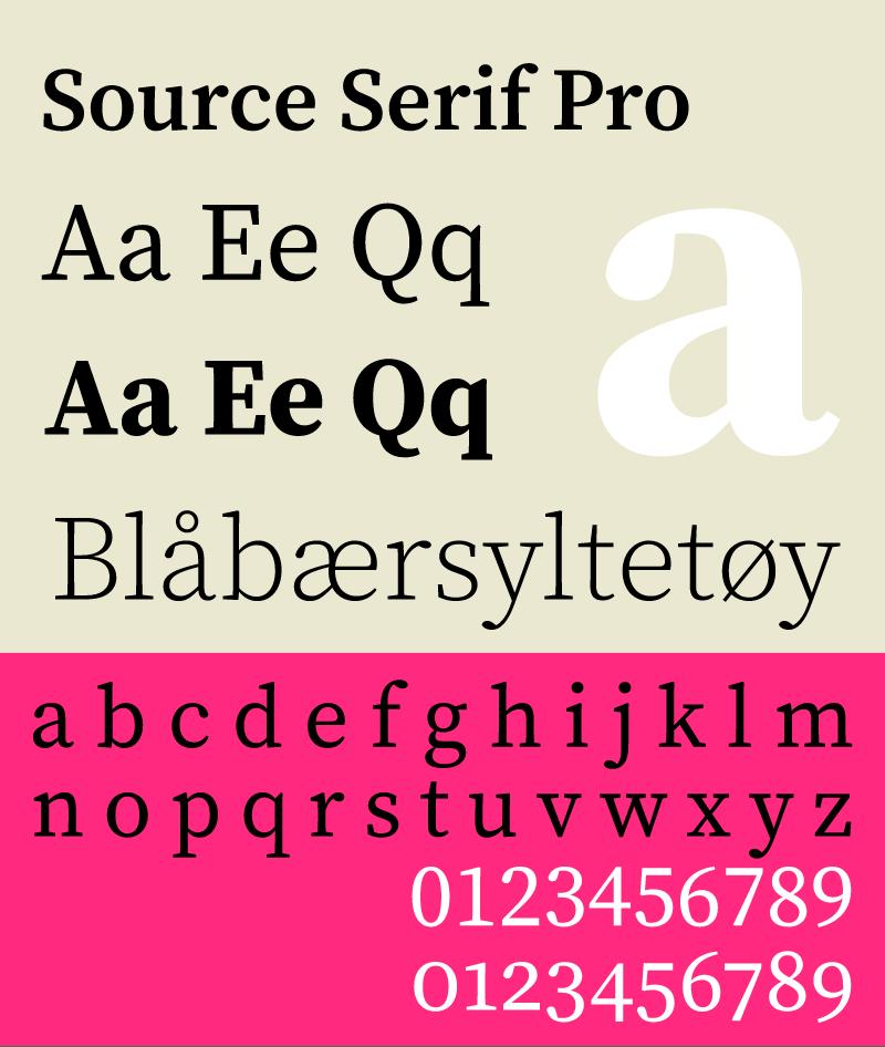 Source Serif Pro бесплатный шрифт от Adobe