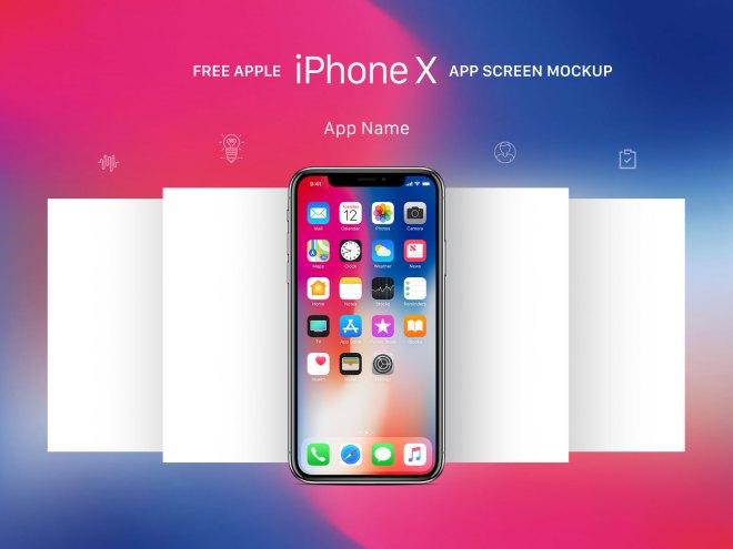 Бесплатный мокап экранов приложения Apple iPhone X для Adobe Photoshop