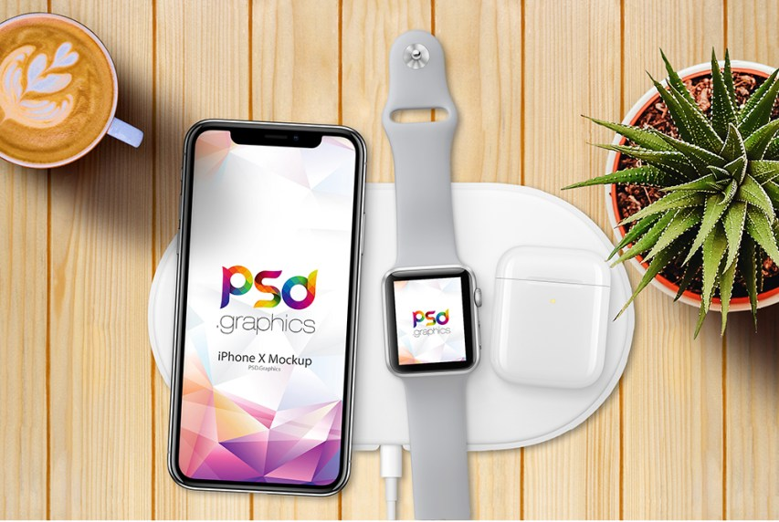 iPhone X with Apple Watch 3 Mockup Free PSD