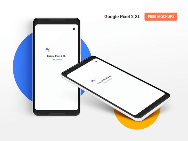 Бесплатный PSD мокап Google Pixel 2 XL. Изометрический и передний виды.