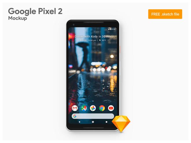 Мокап Google Pixel 2 XL для Sketch