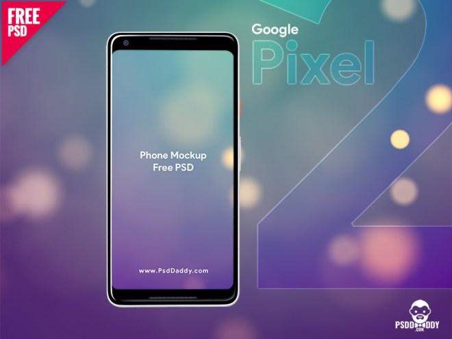 Бесплатный PSD мокап Google Pixel 2 XL