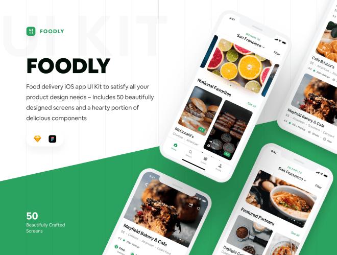 Foodly iOS UI Kit – Комплект приложения iOS для доставки еды